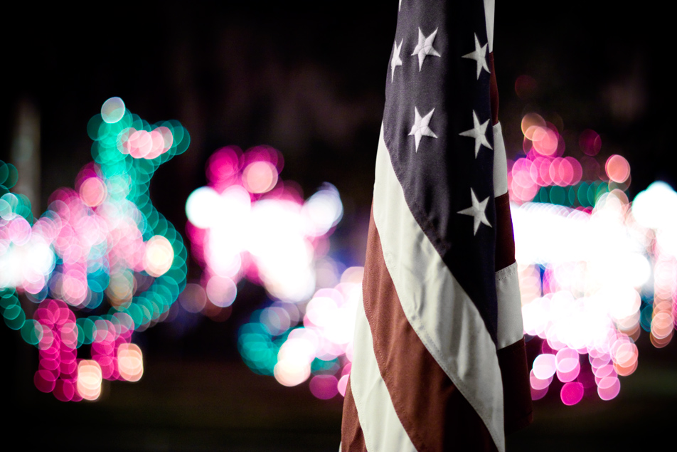american flag and christmas lights